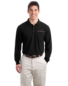 Embroidered L/S Silk Touch Polo with Pocket