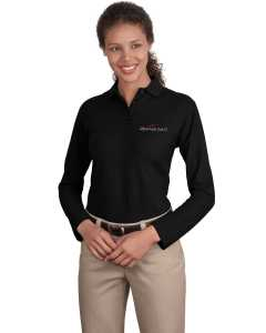 Embroidered Ladies Long Sleeve Silk Touch Polo
